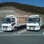 4トントラックの2台コンボイ、いざ静岡のプレカット工場へ!